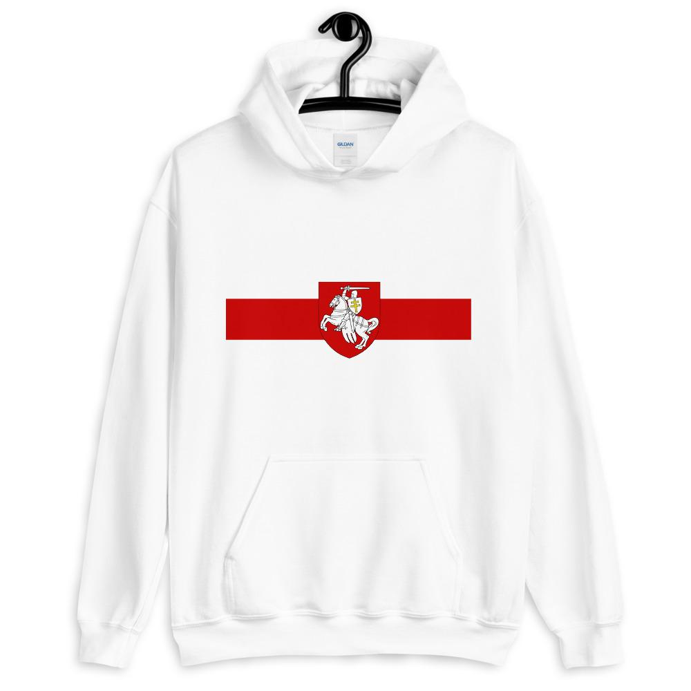 "Unisex Hoodie Flag of Belarus with coat of arms ""Chase"" Hopikas White S"