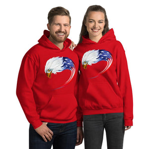 Unisex Hoodie with American eagle flag Hopikas Red S