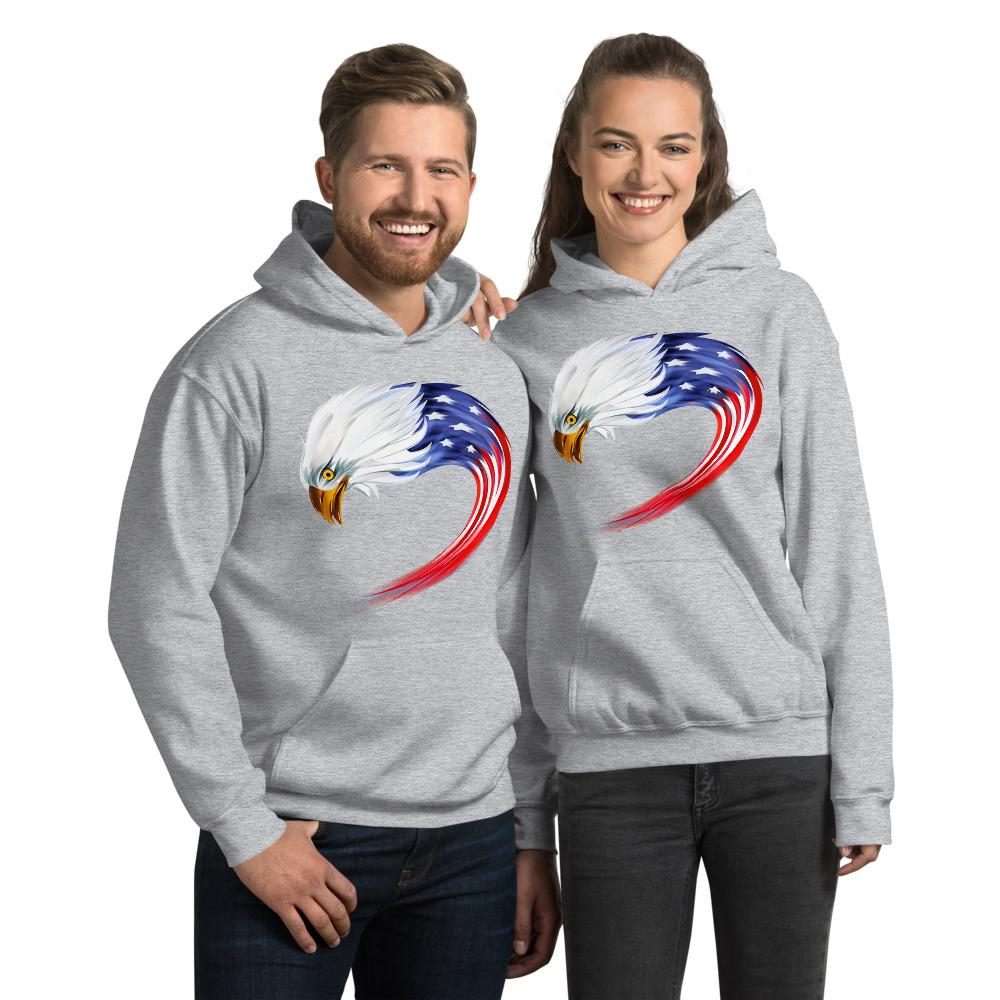 Unisex Hoodie with American eagle flag Hopikas Sport Grey S