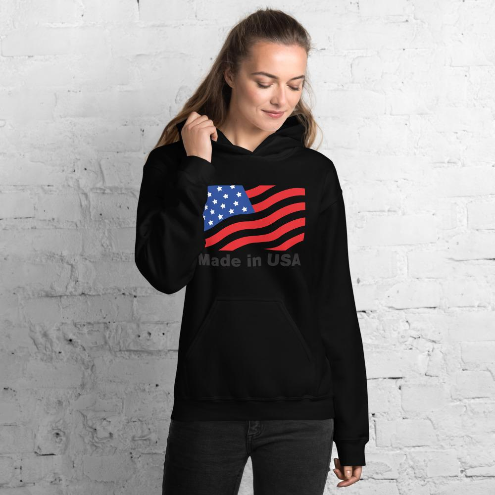 Unisex Hoodie with American flag Hopikas Black S