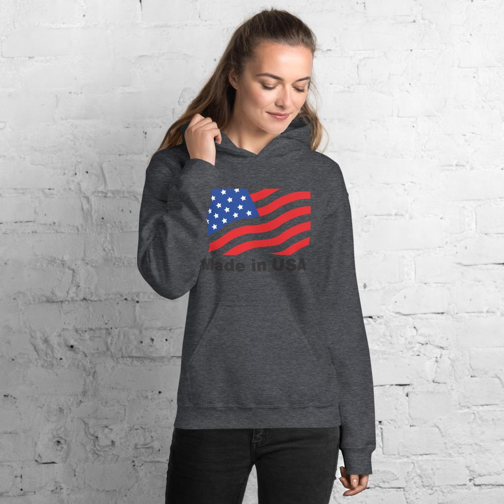 Unisex Hoodie with American flag Hopikas Dark Heather S