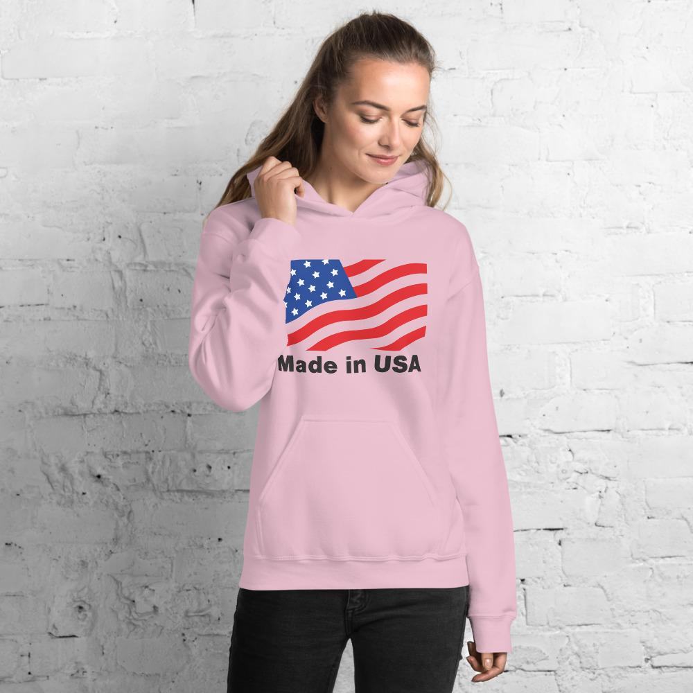 Unisex Hoodie with American flag Hopikas Light Pink S