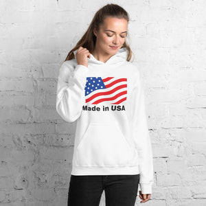 Unisex Hoodie with American flag Hopikas White S