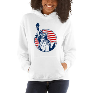 Unisex Hoodie with the statue of liberty Hopikas White S