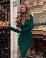 Load image into Gallery viewer, V-neck Bodycon Dress Hopikas green L