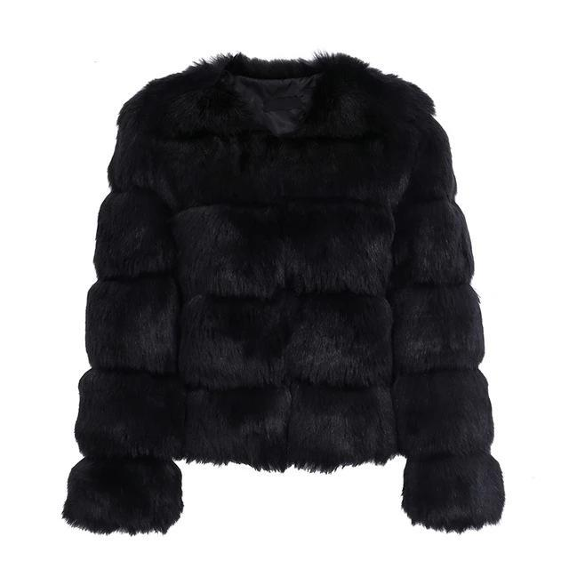 Vintage Faux Fur Coat Hopikas Black S