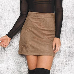 Vintage Leather Suede Pencil Skirt Hopikas