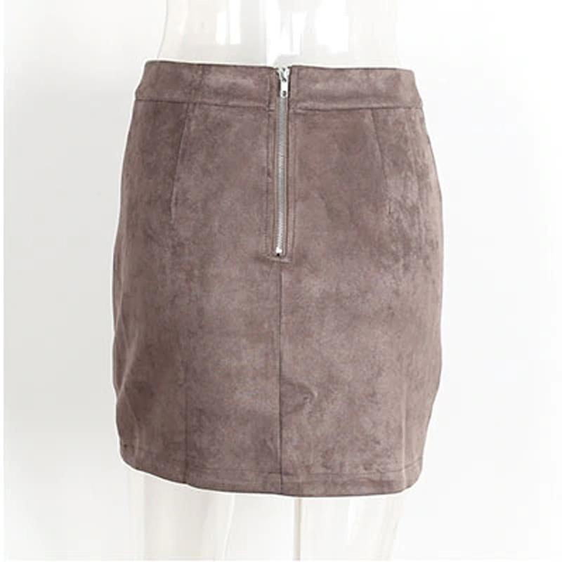 Vintage Leather Suede Pencil Skirt Hopikas Brown S