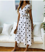 Load image into Gallery viewer, Vintage Polka Dot Print Dress Hopikas White L