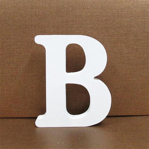 White Wooden Letter English Alphabet | Home Decor Hopikas B 10CMX10CM