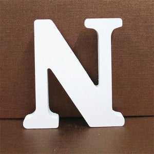 White Wooden Letter English Alphabet | Home Decor Hopikas N 10CMX10CM