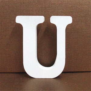 White Wooden Letter English Alphabet | Home Decor Hopikas U 10CMX10CM