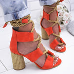 Load image into Gallery viewer, Women Heels Sandals Hopikas All Red 35/5