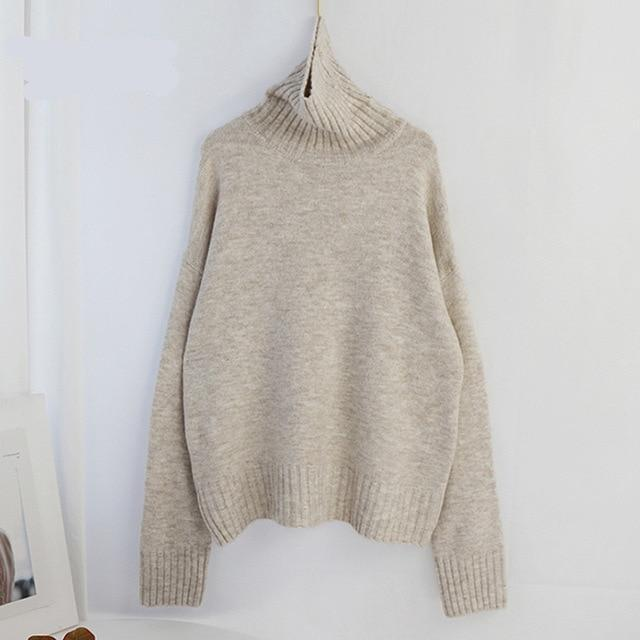 Women Knitted Turtleneck Cashmere Sweater Hopikas One Size 1-Apricot