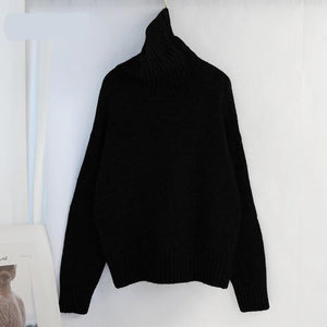 Women Knitted Turtleneck Cashmere Sweater Hopikas One Size 1-Black