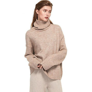 Women Knitted Turtleneck Cashmere Sweater Hopikas One Size 1-Camel