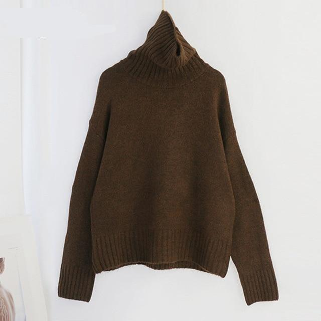 Women Knitted Turtleneck Cashmere Sweater Hopikas One Size 1-Coffee
