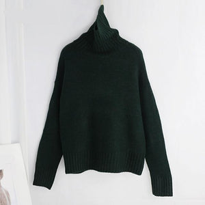 Women Knitted Turtleneck Cashmere Sweater Hopikas One Size 1-Dark Green