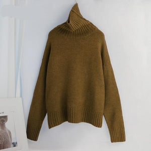 Women Knitted Turtleneck Cashmere Sweater Hopikas One Size 1-Ginger