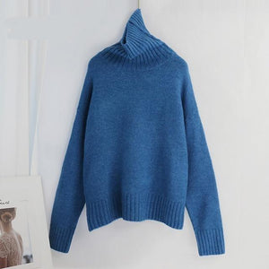 Women Knitted Turtleneck Cashmere Sweater Hopikas One Size 1-Indigo