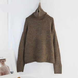 Women Knitted Turtleneck Cashmere Sweater Hopikas One Size 1-Light Brown