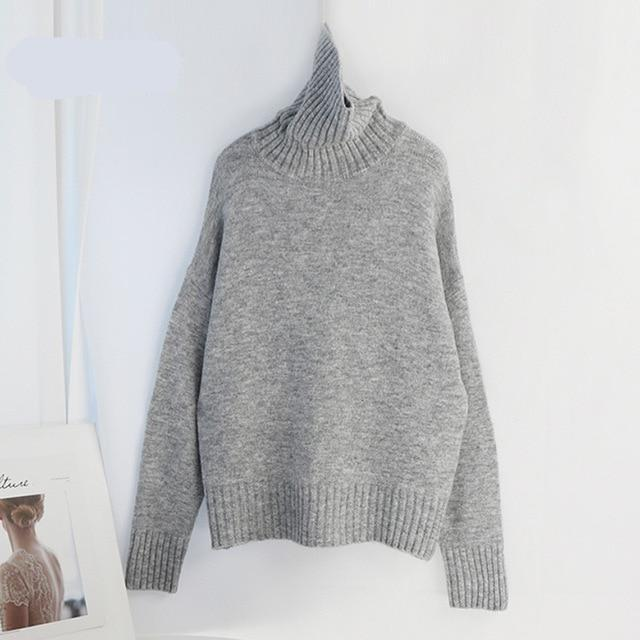 Women Knitted Turtleneck Cashmere Sweater Hopikas One Size 1-Light Gray