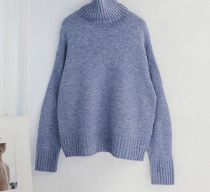 Women Knitted Turtleneck Cashmere Sweater Hopikas One Size 1-Sky Blue