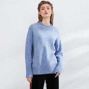 Women Knitted Turtleneck Cashmere Sweater Hopikas One Size 2-Blue