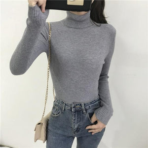 Women Turtleneck Sweater Hopikas Gray