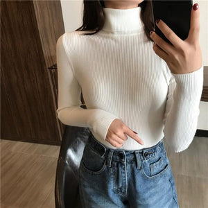 Women Turtleneck Sweater Hopikas White