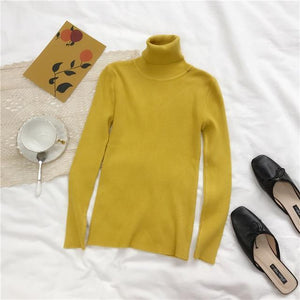 Women Turtleneck Sweater Hopikas Yellow