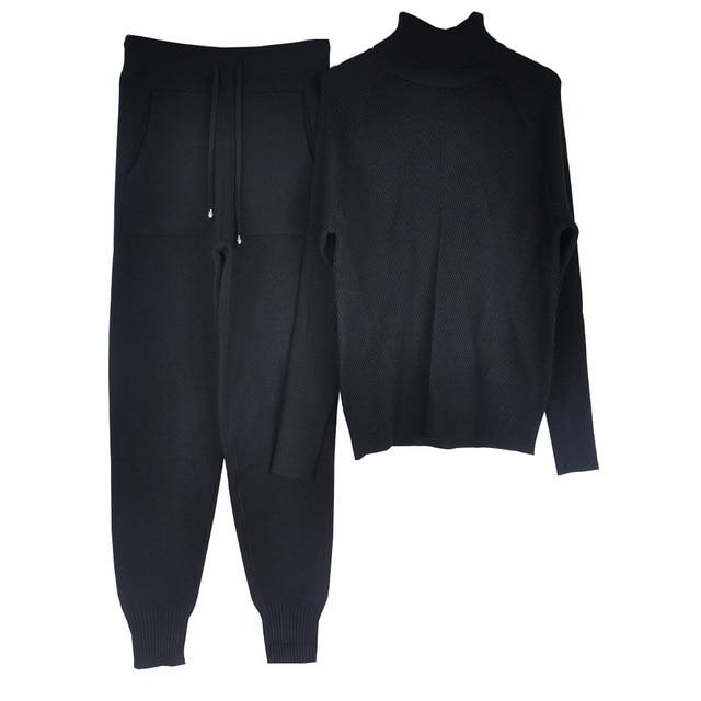 Women's Tracksuit (Sweater and Elastic Trousers) Hopikas Black One Size