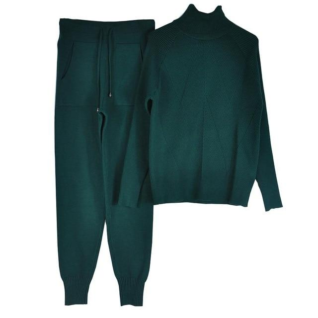 Women's Tracksuit (Sweater and Elastic Trousers) Hopikas Dark green One Size