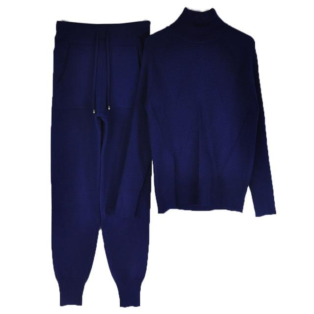 Women's Tracksuit (Sweater and Elastic Trousers) Hopikas Navy Blue One Size