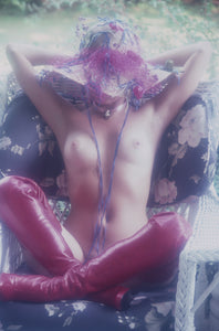 Divina Celeste naked outside in red leather boots