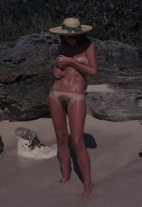 Avril Lund naked on a beach