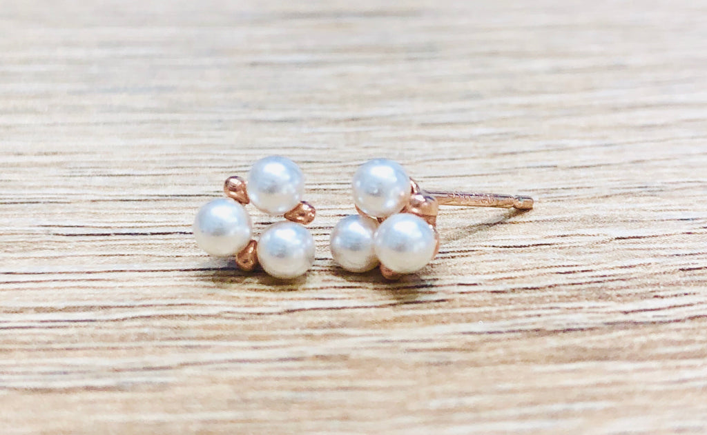 Alexa Trio Pearl Stud Earrings