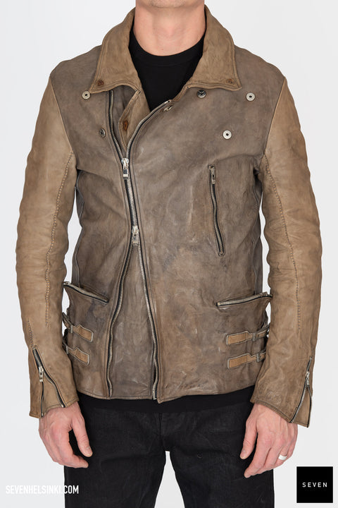 HORSE LEATHER DOUBLE BREASTED MOTO