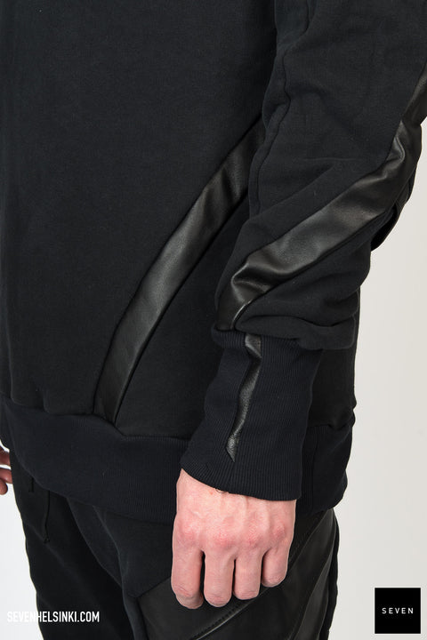 LEATHER DETAIL SWEATSHIRT