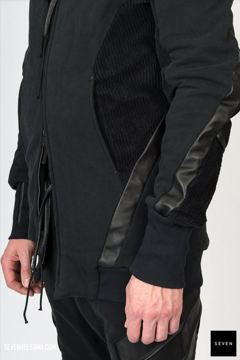 LEATHER DETAIL HOODIE
