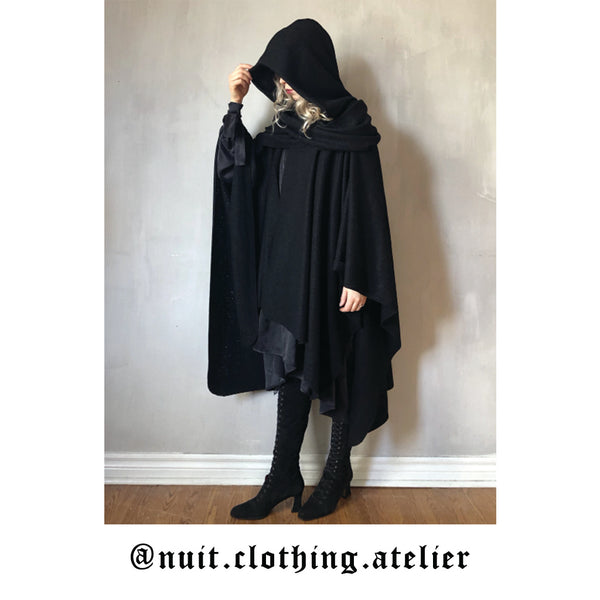 Nuit clothing mythic cape in boiled wool handmade