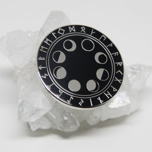 Moon Phase & Rune Hard Enamel Pin