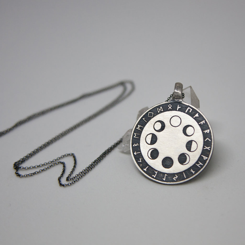 Moonphase & Rune Necklace - Ready To Ship