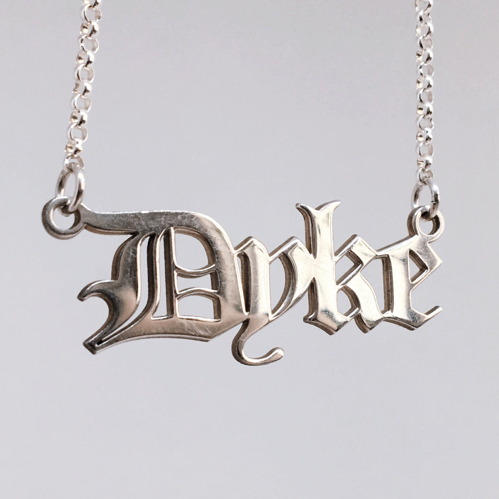 Gothic blackletter Dyke Necklace in solid sterling silver