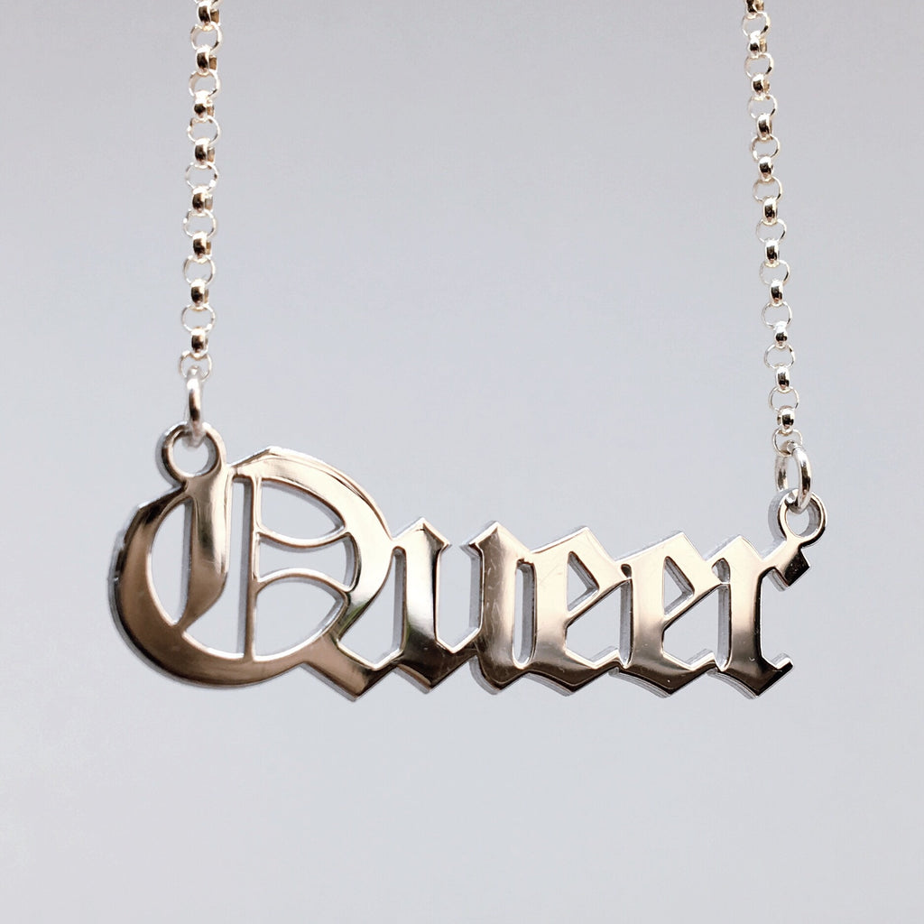 Queer blackletter nameplate necklace in sterling silver