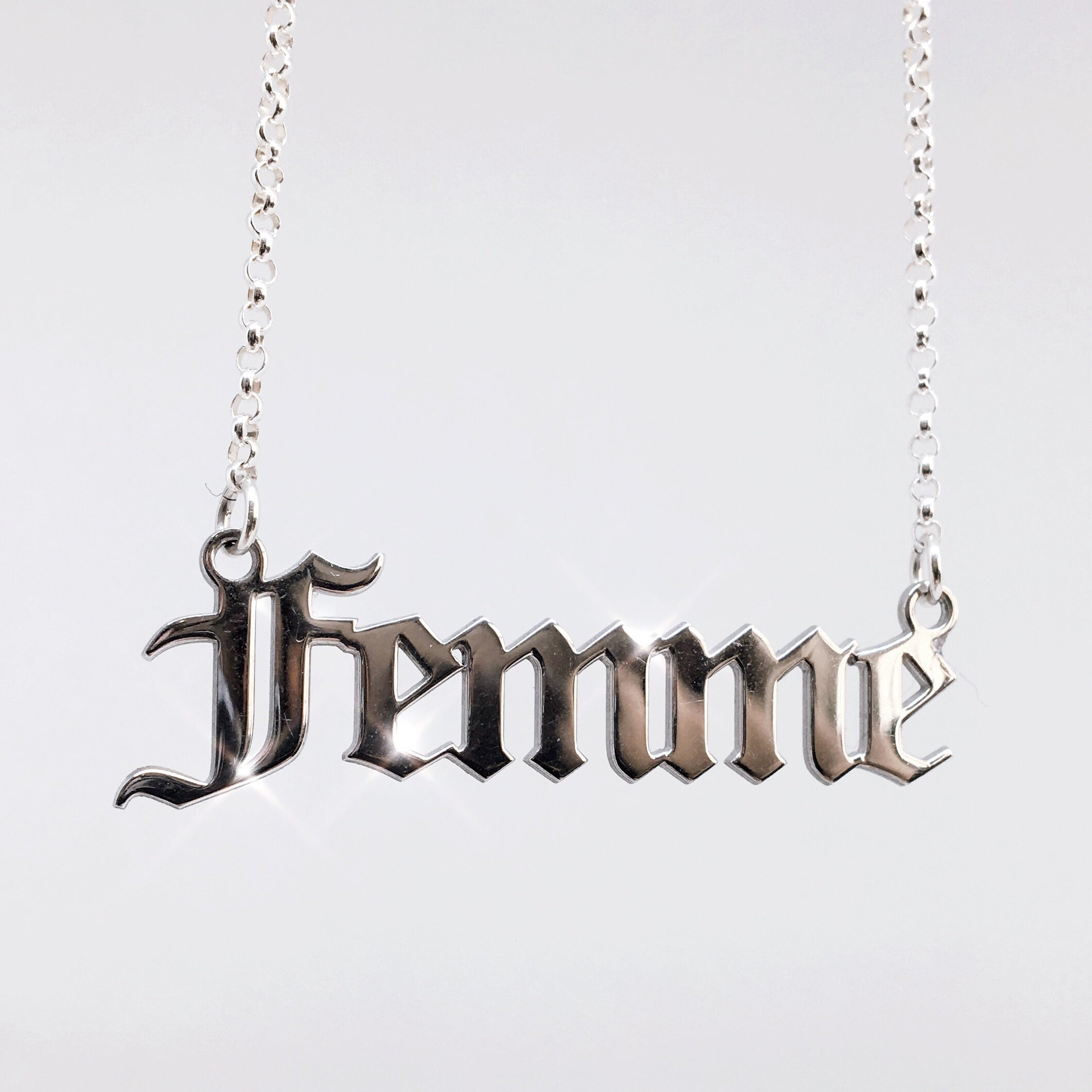 Gothic blackletter Femme Nameplate Necklace in sterling silver