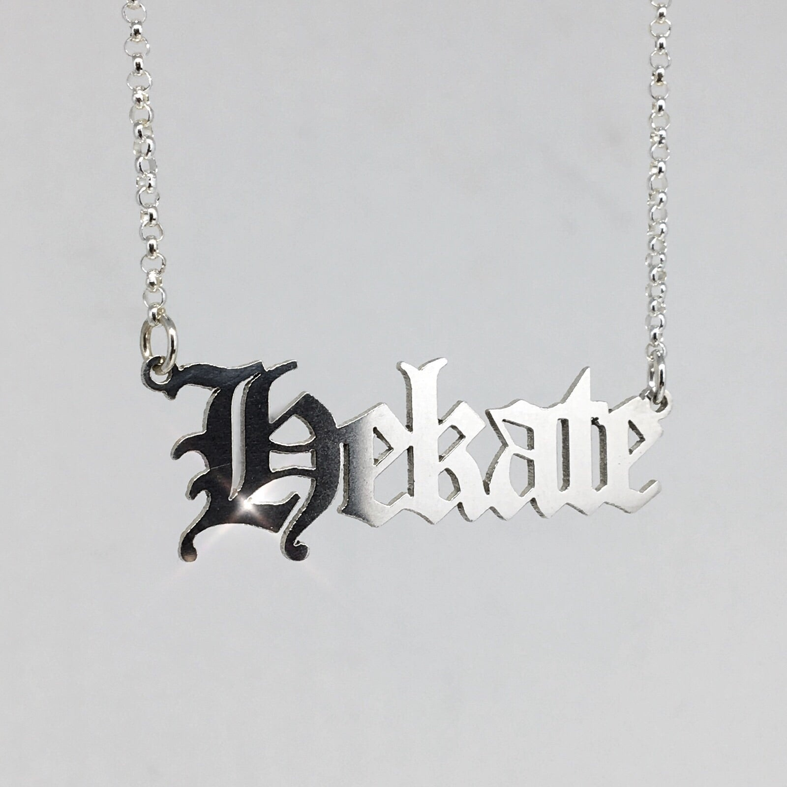 Gothic Blackletter Hekate Nameplate necklace in sterling silver