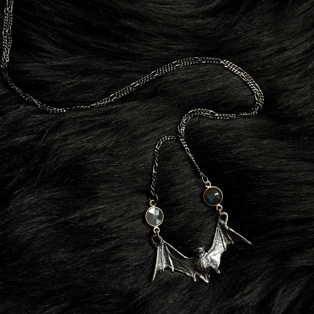 Crystal Bat Necklace with Labradorite - Ready To Ship