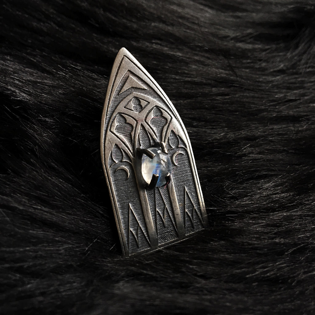 Hallowed Cathedral Ring With Moonstone - Ready To Ship