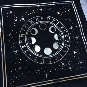 Moon Phase & Rune Altar Cloth